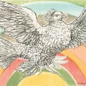 """1184 Picasso, Pablo 1881 Malaga - 1973 Mougins. Lithogr. in acht Farben. """"Colombe volant (à l'Arc-en-ciel).  Fliegende Taube im Regenbogen. Im Stein u.r. sign. u.  10.10.52(19) dat. 49,5 x 62 cm. Pass. R. Abzug auf Plakatpapier  für die Friedensbewegung der 60er Jahre. Auflage 2500. WVZ Mourlot 214. Lit.: 1,2,6,14. (3103054)2 000,-- EURO"""
