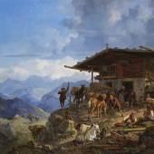 8 HEINRICH BÜRKEL Ankunft auf der Alm, 1835. Öl auf Leinwand Schätzpreis: € 25.000 - 35.000