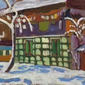 119002316 Gabriele Münter Haus mit Schneebäumen in Kochel, 1908/09. Öl auf Malpappe Schätzpreis: € 200.000 - 300.000