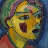 123 ALEXEJ VON JAWLENSKY Dichterin (Mystischer Kopf), 1917. Öl auf Malpappe Schätzpreis: € 300.000 - 400.000