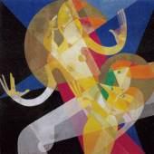 Marianne (My) Ullmann  Komposition mit zwei Akten, um 1925  Gouache und Metallpulver auf Leinwand  80 x 79,8 cm  Wien Museum  Foto © Wien Museum