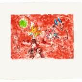 "Marc Chagall ""Paysage rouge"", 1974, Monotype (Unikat) auf Japanpapier, 30 x 42 cm, rechts unten signiert Bild: Galerie Française - Gérard Schneider/© Bildrecht Wien, 2019"