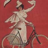 FRISCHLUFT? FREIHEIT! FAHRRAD! Plakat der Innsbrucker Firma Josef Holzhammer für Dürkopp-Fahrräder, 1904, Farblithografie. Ausstellung von 4.5.2018 - 6.1.2019 im Museum im Zeughaus