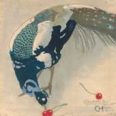 MIT DEM AUGE DES KÜNSTLERS Carl Moser, Weißgefleckter Pfau, 1906, Farbholzschnitt, 311 x 311 mm, aus der Sammlung Wilfried Kirschl  © TLM