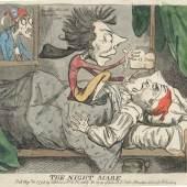 Anonym: The Night Mare, Veröffentlicht am 13. August 1795 bei Samuel William Fores, Radierung und Kupferstich; 25,2 x 35,5 cm, Andrew Edmunds, London