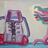 Maria Lassnig Harte und weiche Maschine / Kleine Sciencefiction,1988 Öl auf Leinwand / oil on canvas, 126,5 x 201 cm Photo: Universalmuseum Joanneum, N. Lackner © Maria Lassnig Stiftung