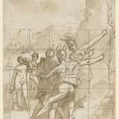 RAFFAELLO MOTTA, GEN. RAFFAELLINO DA REGGIO (1550 – 1578)  Herakles zwischen Tugend und Laster, Entwurf für eine verlorene Fassadenmalerei in der Via delle Stellette, Rom, um 1573 Feder in Braun, braun laviert, quadriert in Kreide 250 x 172 mm Inv.-Nr. 2611 Z © Staatliche Graphische Sammlung München