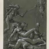 Hans Ulrich Franck: Hexensabbat, 1515. Feder in Tusche, weiß gehöht, auf grau grundiertem Papier, 14,3 x 10,4 cm. © Staatliche Museen zu Berlin, Kupferstichkabinett / Jörg P. Anders