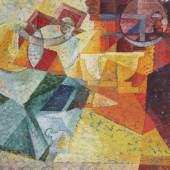 Erika Giovanna Klien, Stilleben mit Kaffeemühle, um 1920, Öl auf Textil kaschiert auf Karton  © TLM
