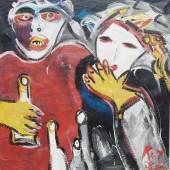 """Peter Keil (1942) """"Kinder am Bahnhof Zoo"""",Öl auf Leinwand,signiert und datiert 1985,ca.108x103cm"""