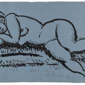 120002528 Alexej von Jawlensky Liegender weiblicher Akt mit geschlossenen Augen, Ca. 1912. Tuschpinsel Schätzpreis: € 10.000 - 12.000