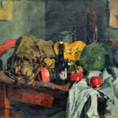 054   Bernhard Kretzschmar, Stillleben mit Äpfeln, Kürbis und Flasche. 1917.