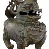 Räuchergefäss China 17./18. Jh. Bronze mit schwarz-grüner Patina.