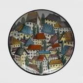 Franz von Zülow, Wandplatte mit Häuserprospekt, Entwurf um 1945, DM 35,2 cm, Schätzwert € 1.200 - 1.500, Fotonachweis: Dorotheum