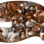 Malerpalette, beidseitig mit siebzig signierten Darstellungen berühmter Künstler bemalt, Schätzwert € 20.000 - 25.000, Fotonachweis: Dorotheum