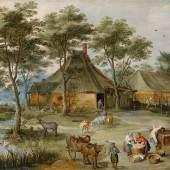 Jost de Momper und Jan Brueghel II, Dörfliche Szene am Ziehbrunnen, erzielter Preis € 389.300