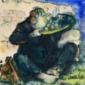 """066   Josef Hegenbarth """"Der Fresser"""". Um 1921.  Josef Hegenbarth 1884 Böhmisch Kamnitz – 1962 Dresden-Loschwitz  4.500 €"""