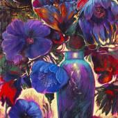 121000767 Ernst Fuchs Blumenstillleben, 1980. Öl auf Leinwand, fest auf Pappe aufgelegt Schätzpreis: € 15.000 - 20.000