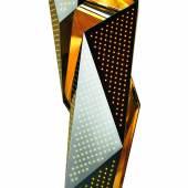 """""""eL"""" Masterpiece chandelier, Daniel Libeskind, 2011, innen Edelstahl blattvergoldet, 23 Karat, Höhe 2,7 m, Auktion 27. November 2012, Schätzwert € 340.000 - 450.000 v"""