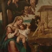 Kat.-Nr. 1212 Rottenhammer, Hans attr. 1564 München - 1625 Augsburg. Öl/Kupfertafel. Die Heilige Familie. Unter einer Palme sitzend Maria mit dem Jesusknaben umgeben von Engeln, dahinter Josef als Zimmermann. (Min. Farbabspl.). 45 x 36 cm. R. Lit.: 1,11,14. (4300021) Limit 2 000,-- EURO