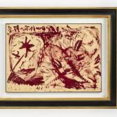 Lot 1235 Penck, A.R. 1939 Dresden - 2017 Zürich.  Aquarell/Gouache aufgezogen auf Lw. Ohne Titel. Rote Komposition  mit Stern und Köpfen. U.r. mit Bleistift sign. (Min. Farbabriebe links u. o.r.). 75 x 100 cm. R. Lit.: 1,14. (e8074043) Limit: 8 500,-- EURO