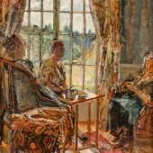 1243 Plantey, Robert Gilles 1881 Bordeaux - 1974 Rambouillet. Öl/Lw. Teestunde. Jugendstilinterieur mit drei Damen beim Tee  und Blick aus dem Fenster in den sommerlichen Garten. U.r. sign.  (Min. Craquelé). 60,5 x 40 cm. R. Lit.: 1,2, (4034256)1 200,-- EURO