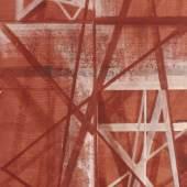 """143   Hermann Glöckner """"Drei Felder mit Strahlenkonstruktion in Rotbraun und Weiß"""". Wohl 1957. 3.500 €"""