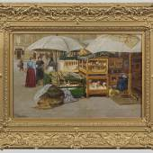 Lot 1257 Franz Skarbina (1849 – 1910) Berliner Straßenszene mit Marktstand. Öl/Lwd., sign.; 34 cm x 54 cm.