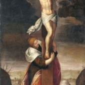005   Jacopo Negretti, gen. Palma il Giovane (Nachfolge), Maria Magdalena unter dem Kreuz. Frühes 17. Jh.7.500 €