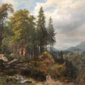 """007   Carl Maria Nikolaus Hummel """"Tannenwald mit Felsblöcken, Motiv aus dem Bayr[ischen]. Wald"""". 1869."""