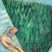 """Maria Lassnig (1919-2014) """"Der Wald"""", 1985, Öl auf Leinwand, 205 x 140 cm erzielter Preis € 491.000  WELTREKORD"""