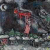 MARC CHAGALL L'âne rouge au-dessus du village. Öl auf Leinwand. Signiert: Marc Chagall. 65x81 cm. CHF 1,4 Mio. / 1,8 Mio.