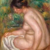 PIERRE-AUGUSTE RENOIR  Baigneuse assise, vue de profil (Gabrielle). 1913. Öl auf Leinwand. Signiert: Renoir. 63x51,8 cm. CHF 2,6 Mio. / 3,5 Mio.