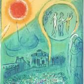 """1332 Chagall, Marc 1887 Witebsk - 1985 Saint-Paul-de-Vence. Farblithogr., aufgez. auf Papier. """"Le Carrousel du Louvre"""".  1954. Auf Papier mit Bleistift sign. u. u.l 18/75 dat. Revue  Derriere le Miroir 66/67/68. 38,5 x 27 cm. Pass. R. Verleger:  Maeght, Paris. WVZnr. Mourlot 103. Lit.: 1,2,11,14."""