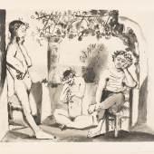 1333 Picasso, Pablo 1881 Malaga - 1973 Mougin.  Aquatinta. Bacchanale. Ca. 1955. U.r. mit Bleistift sign. U.l.  126/250 num. Hrsg. Atelier Crommelynck, Paris. Prägestempel:  Atelier Crommelynck, Paris. 47 x 55,5 cm. Pass. R.  Lit.: 1,2,6,11,14. (4340001)4 500,-- EURO