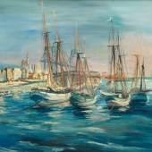 Wilhelm Kohlhoff (1893 - 1971). Hafen von Marseille. Öl/Holztafel. Sign.; dat. (19)30.