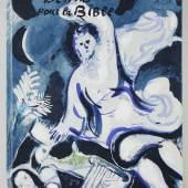 """Katalog-Nr. 346 Marc Chagall (1887 - 1985) - Bibel: """"Dessins pour la Bible"""", mit 25 Original Farblithographien (inkl. Einband) und 96 schwarz/weiß Heliogravuren, Èdition de la Revue Verve Nr. 37/38, Paris 1960   • Kategorie: Graphik   • Limit: 2.200,00 EUR"""