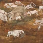 Max Liebermann (1847 - 1935). Schweinekoben. Öl/Papier. Sign.;