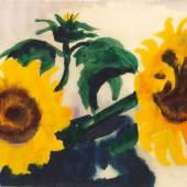 Emil Nolde (1867 - 1956). Zwei Sonnenblumen in einer blauen Vase, um 1930 - 1935. Aquarell/Japanbütten. Sign.; Slg. Dr. Paul Wassily, Kiel. Gutachten von Prof. Dr. Martin Urban, Stiftung Seebüll, 1981.