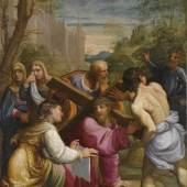 Lot Nr. 37 Guido Reni (1575-1642)  Der kreuztragende Christus,  Öl auf Kupfer, 49,5 x 36,5 cm  erzielter Preis € 491.000