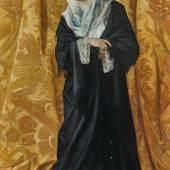 Osman Hamdi Bey (Istanbul 1842 - 1910) Dame turque de Constantinople, signiert, datiert Hamdy Bey 1881, Öl auf Leinwand, 120 x 60 cm, erzielter Preis € 1.770.300, Auktion Gemälde des 19. Jahrhunderts, 23.Oktober 2019