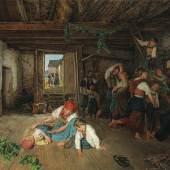 Ferdinand Georg Waldmüller (Wien 1793–1865 Hinterbrühl) Vorbereitung zum Weinlesefest, signiert, datiert Waldmüller (18)60, Öl auf Holz, 63,5 x 81 cm, erzielter Preis € 296.100