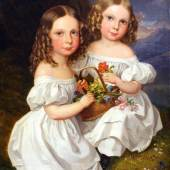 """Leopold Fertbauer  """"Bildnis zweier Mädchen in Landschaft"""", Öl auf Holz, 25 x 20,5 cm, signiert: Fertbauer Bild: Dr. Robert Keil Kunsthandel"""