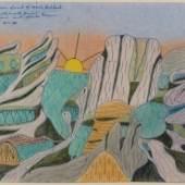 Joseph Yoakum, Mr. Seple on Walgreen Coast of Marie Birdland, 1969, Bleistift, Buntstift und Tusche auf Papier, ca. 30 x 48 cm, Collection of Robert A. Roth, Foto: John Faier