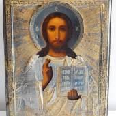 """Russische Ikone """"Christus Pantekrator"""" mit vergoldeten Silberoklad mit Meistermarke und """"84"""" Silberpunze"""