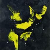 Lucio Fontana (1899 - 1968) Concetto Spaziale, signiert, datiert 57, Öl, Glitzer, Löcher auf Leinwand, 100 x 81,4 cm erzielter Preis € 1.079.300