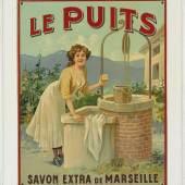 Le puits - Savon extra de Marseille, geprägtes Blechschild, 31,5 x 38 cm, Frankreich um 1900/1910, Rufpreis 400