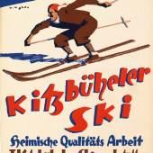 "Alfons Walde ""Kitzbüheler Ski"", Österreich, 1930er Jahre, Plakat, 26,5 x 40 cm, Rufpreis € 500"