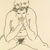 Egon Schiele (1890-1918) Sitzender Akt, 1917, schwarze Kreide auf Papier, 29,5 x 46 cm erzielter Preis € 405.600