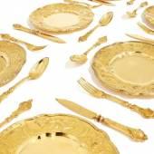Sechs Dessert-Gedecke Berlin 1905 Werkstatt Sy und Wagner Silber vergoldet Ergebnis: 20.480 Euro